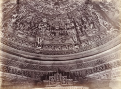 Carved wooden ceiling dome in the Parsvanatha Temple, Patan